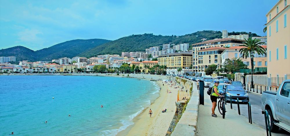 stock image of the beachfront in Ajaccio on the island of Corsica in France