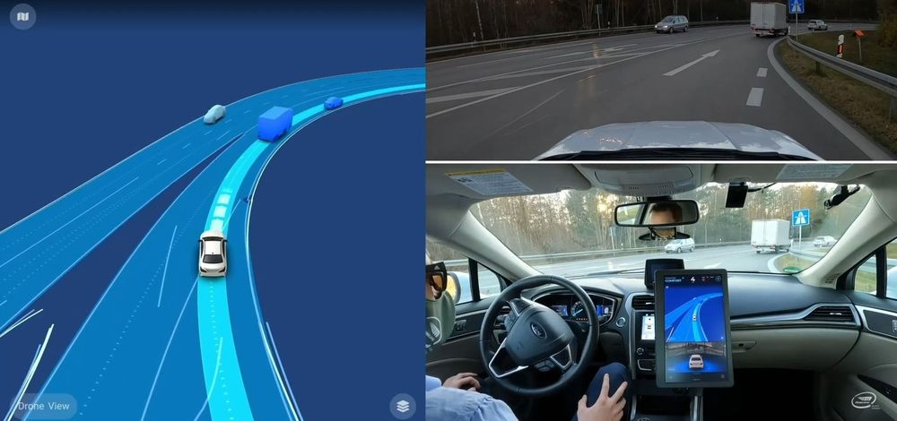 Screen capture from video showing Mobileye's developmental AV navigating the Autobahn near Munich.