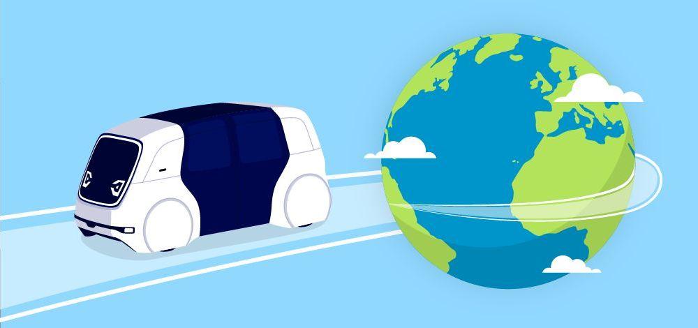 Illustration of Mobileye Drive autonomous shuttle circling the globe