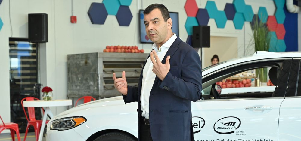 Prof. Amnon Shashua speaks at the 2019 Mobileye DRIVES Investor Summit in Jerusalem