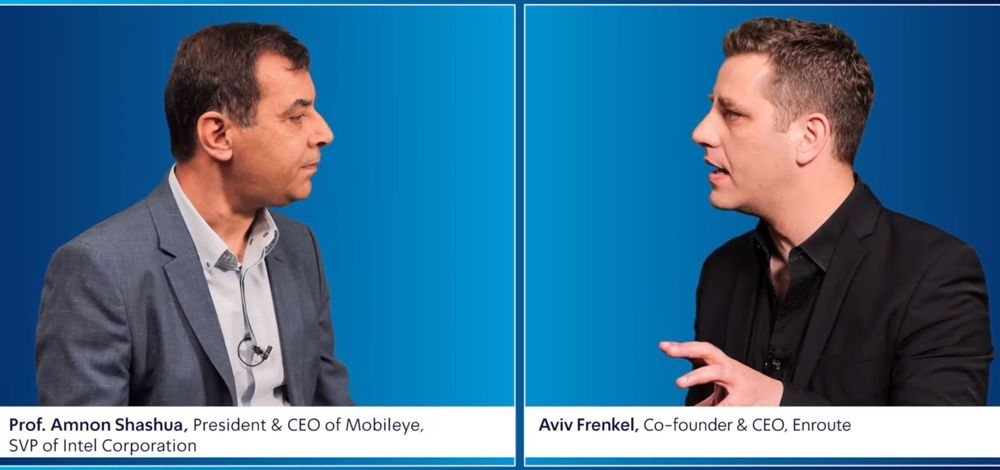 Mobileye CEO Prof. Amnon Shashua speaks with Enroute CEO Aviv Frenkel at EcoMotion 2020