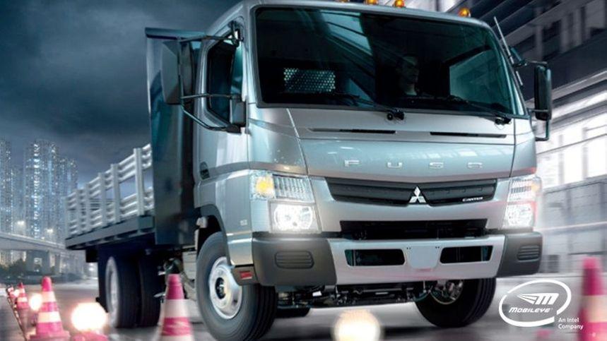 mitsubishi, fuso, truck, mobileye, cones